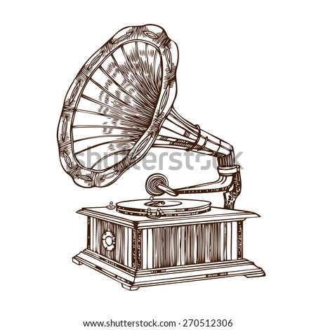 Vector gramophone on a white background. - stock vector