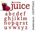 Vector granade juice serif font, abc a-z - stock vector