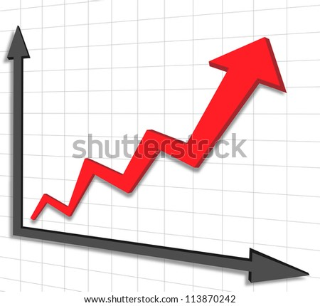 vector graph chart red arrow - stock vector
