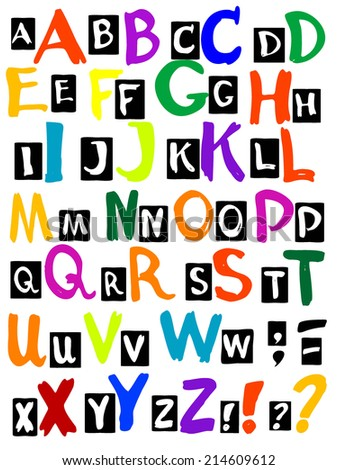 Vector graphic, artistic, stylized image of letters of the alphabet - stock vector