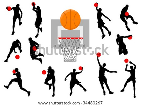 Vector graphic basketball. Silhouette man with the ball