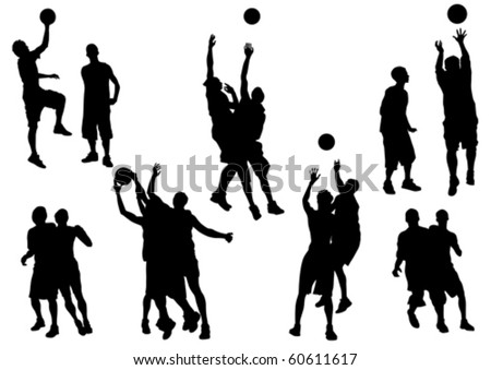 Vector graphic basketball. Silhouette sport people - stock vector