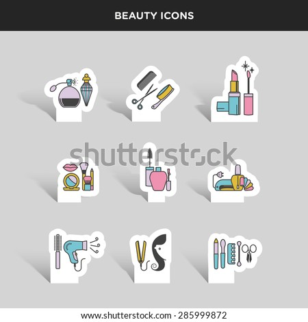 Vector graphic color icon sticker set of beauty and cosmetics - stock vector