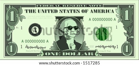 vector graphic depicting a dollar bill parody - stock vector
