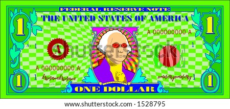 vector graphic depicting a dollar bill parody (Funny Money) - stock vector