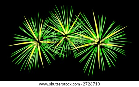 Vector graphic depicting a fireworks display - stock vector
