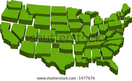 vector graphic depicting a map of the U.S. with separate individual states - stock vector