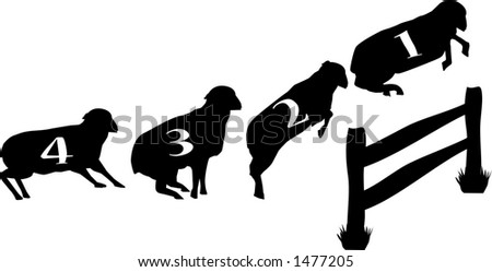 vector graphic depicting concept of counting sheep jumping over a fence in order to fall asleep - stock vector
