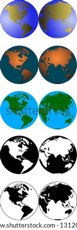 vector graphic depicting five versions of the world (globe) - stock vector