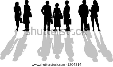 vector graphic depicting three groups of people in silhouette - stock vector