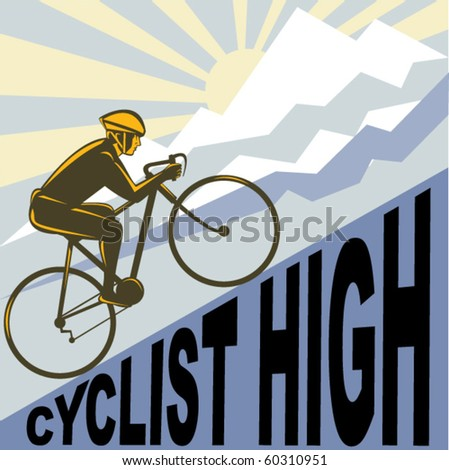 vector graphic design illustration of a Cyclist racing bike up steep mountain and clouds sunburst done in retro WPA style. - stock vector