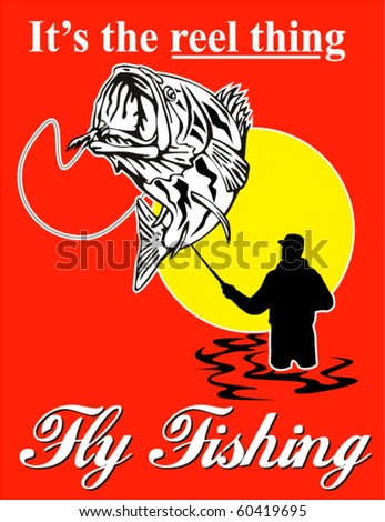 "vector graphic design illustration of fly fisherman catching largemouth bass with fly reel with text wording   ""it's the reel thing"" - stock vector"