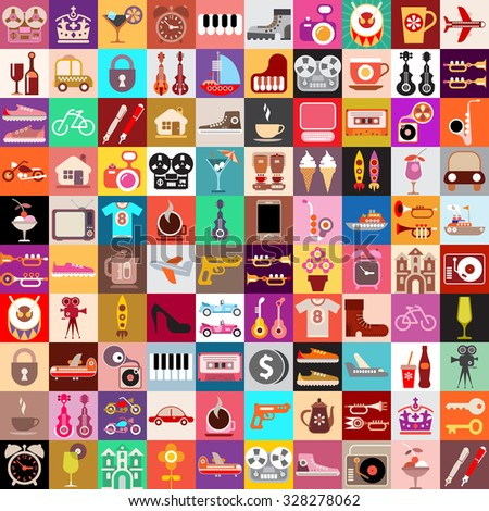 Vector graphic design of various random objects.  Collage of multiple images.