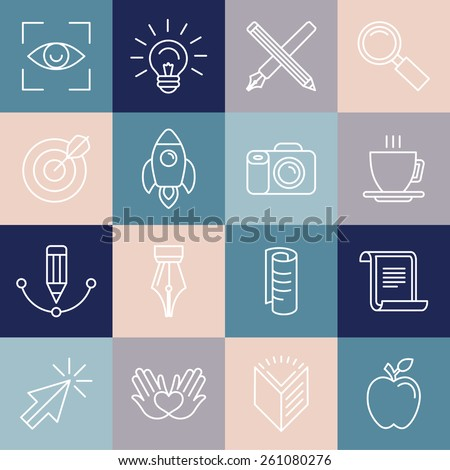 Vector graphic designer icons and badges in linear style - tools and objects - stock vector