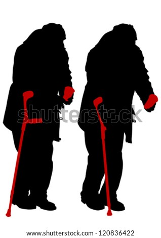 Vector graphic disabled in a wheel chair. Silhouettes of people - stock vector