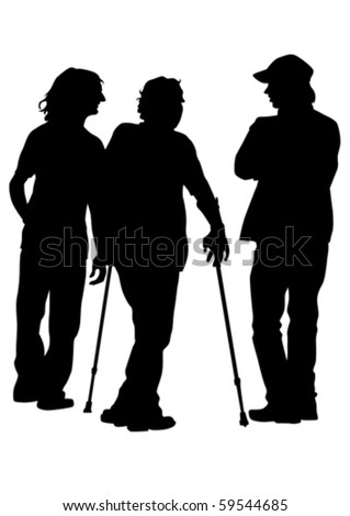 Vector graphic disabled man on a walk. Silhouettes of people - stock vector