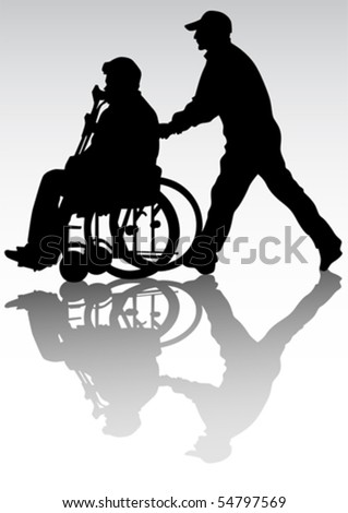 Vector graphic disabled on a walk. Silhouettes of people - stock vector
