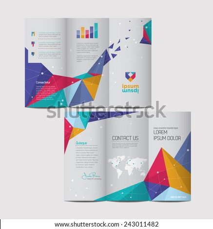 Vector graphic elegant abstract business brochure design with spread pages - stock vector