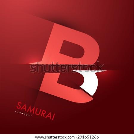 Vector graphic elegant and unique sliced alphabet - Letter B - stock vector