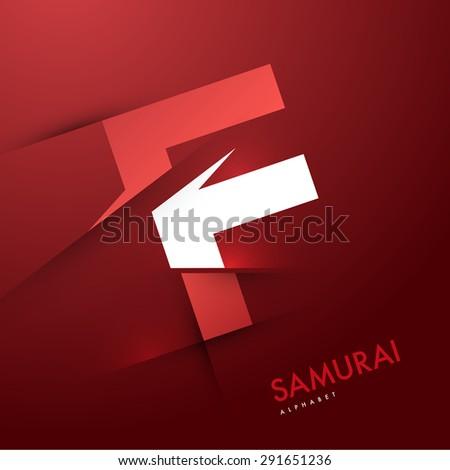 Vector graphic elegant and unique sliced alphabet - Letter F - stock vector