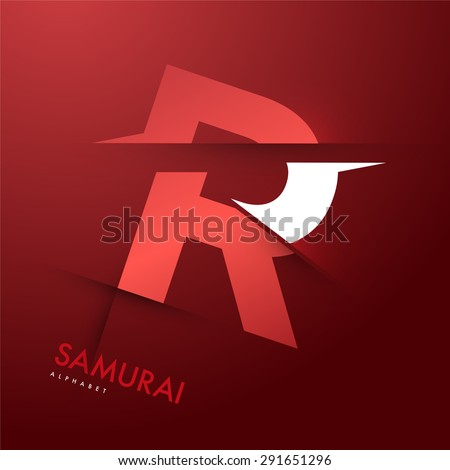 Vector graphic elegant and unique sliced alphabet - Letter R - stock vector