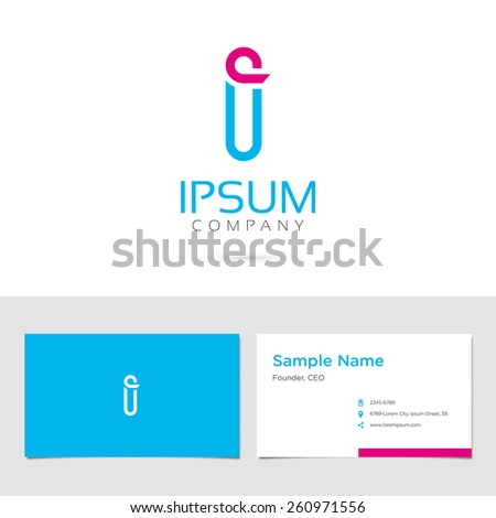 Vector graphic elegant impossible alphabet symbol / identity / business card in two colors / Letter I - stock vector