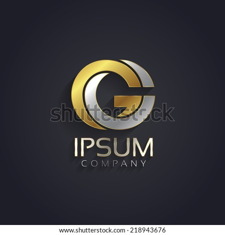 Vector graphic elegant silver and gold impossible font / symbol / alphabet / Letter G - stock vector