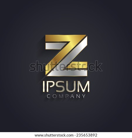 Vector graphic elegant silver and gold impossible font / symbol / alphabet / Letter Z - stock vector
