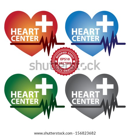 Vector : Graphic For Healthcare and Medical Concept Present By Colorful Heart Center Sign With Cross Sign and Heartbeat Graph Isolated On White Background  - stock vector