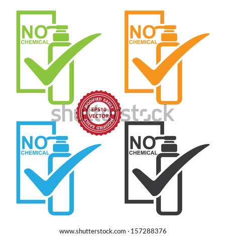 Vector : Graphic for Marketing Campaign, Product Information or Product Ingredient Concept Present By Colorful No Chemical Shampoo Bottle Sign With Check Mark Isolated on White Background