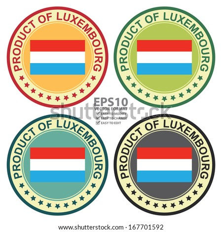Vector : Graphic for Product Information Concept Present By Colorful Vintage Style Product of Luxembourg Stamp, Sticker, Label or Icon With Luxembourg Flag Sign Isolated on White Background