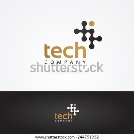 Vector graphic geometric tech symbol in gold and grey - stock vector