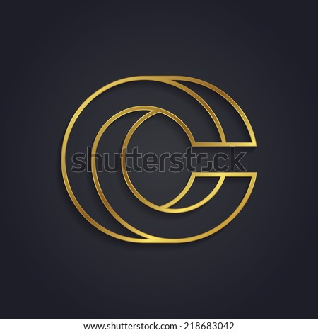 Vector graphic gold alphabet / impossible letter symbol / Letter C - stock vector