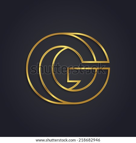 Vector graphic gold alphabet / impossible letter symbol / Letter G - stock vector
