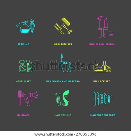 Vector graphic icon set of beauty, cosmetics, and healthcare products - stock vector