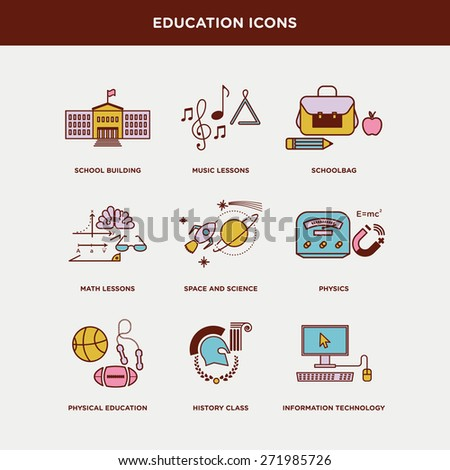 Vector graphic icon set of school and education - stock vector
