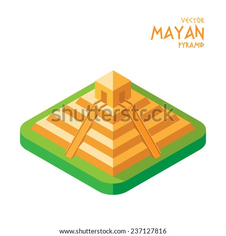 Vector graphic  illustration flat isometric design of Mayan pyramid ancient Temple - stock vector