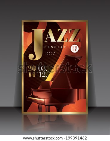 Vector graphic illustration jazz concert poster with piano in brown color - stock vector