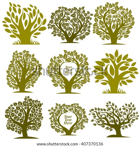 Vector graphic illustration of green trees with empty copy space for your text. Eco botanical single elements collection isolated on white background. - stock vector