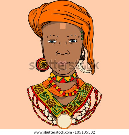 vector graphic illustration of the African girl. Suitable for book design invitations posters - stock vector