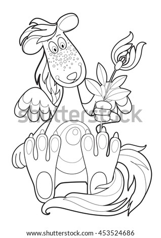 vector graphic images of kind fantastic creatures for coloring - stock vector