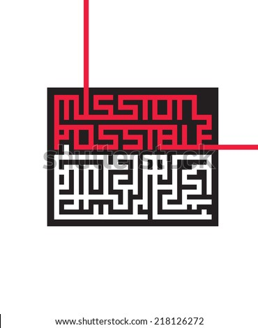 Vector graphic maze with hidden message Mission Possible - stock vector