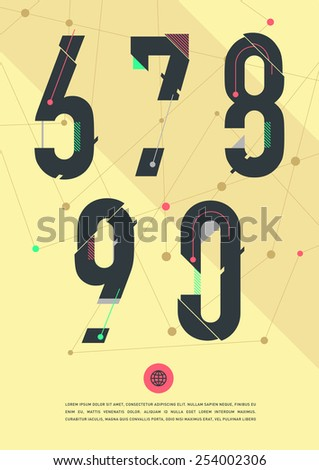 Vector graphic numbers in a set. Contains vibrant colors and minimal design on a yellow abstract background. - stock vector