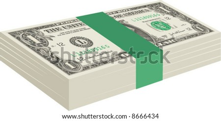 Vector graphic of a stack of United States US one dollar bills - stock vector