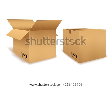 Vector Graphic of One Open and One Closed Cardboard Box for Packaging on White Background - stock vector