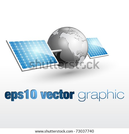 vector graphic of the earth with solar panels 02