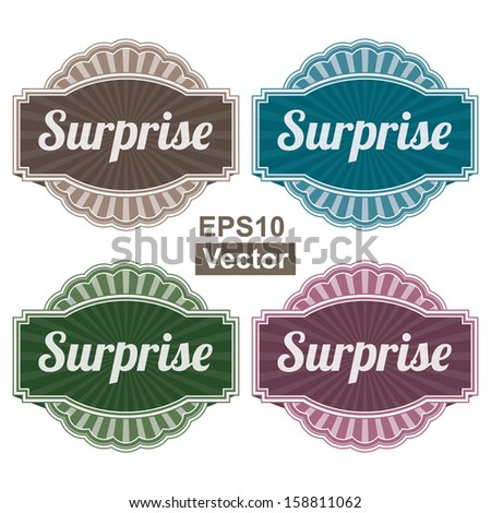 Vector : Graphic or Marketing Materials For Marketing Campaign, Promotion or Sale Event Present By Colorful Vintage Style Surprise Icon or Badge Isolated on White Background  - stock vector