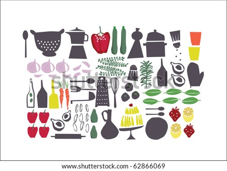 vector - graphic retro set about food, perfect for restaurant menu - stock vector
