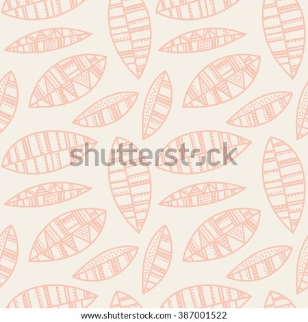 Vector  Graphic seamless ornament. Floral stylish pattern. Vector repeating texture with stylized pink hand drawn leaves and petals.  - stock vector