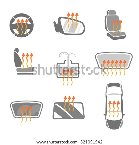 Vector graphic set of car heating pack isolated icons. Editable illustration. Automotive collection in grey and orange colors. - stock vector